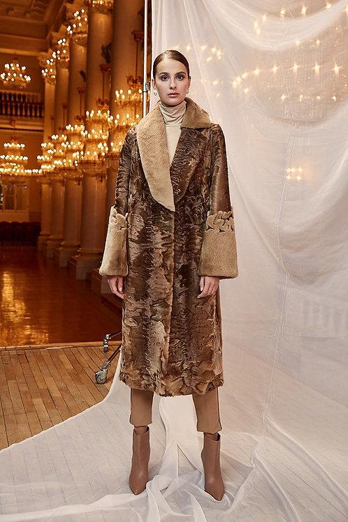 Пальто из норки и Swakara Brown