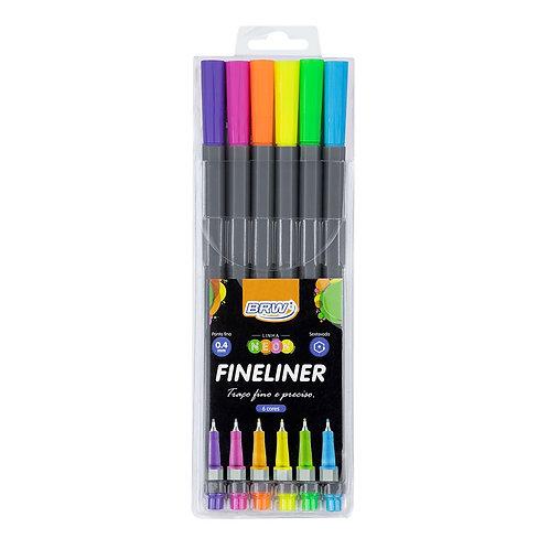 Canetinha fine liner 0.4mm  -cores neon - c/ 6un