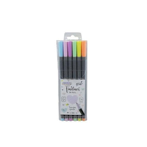 Canetinha fine liner 0.4mm - cor pastel - c/ 6un