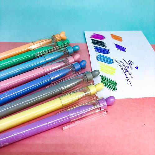 Kit 8 canetas Gel coloridas