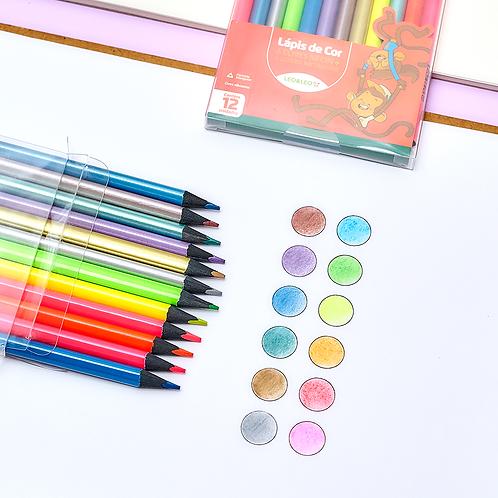 Lápis de cor 12 cores - 6 neon e 6 metalizadas