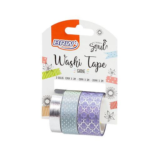 washi tape - shine- 3 rolos com 3m cada