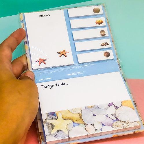 Caderno de blocos adesivos fundo do mar