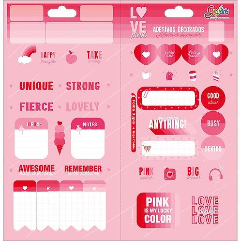 ADESIVO DECORADO DUPLO love pink
