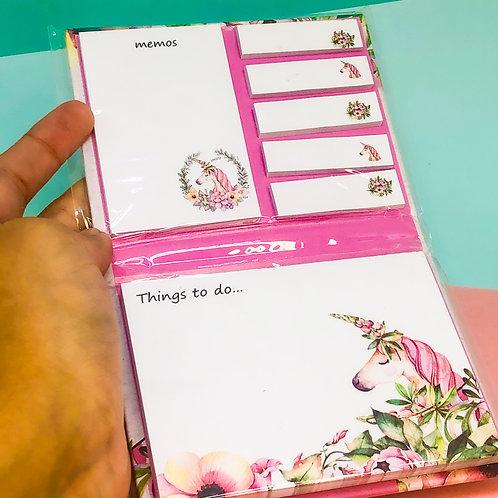 Caderno de blocos adesivos unicórnio