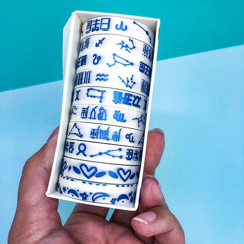 Jogo de 10 Washi tape Metalizado -Azul escuro
