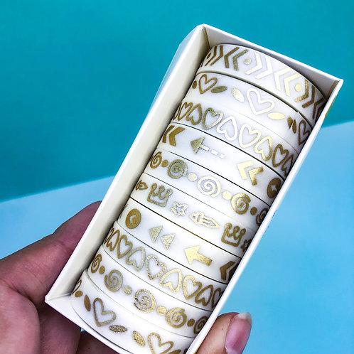 Jogo de 10 Washi tape Metalizado - Dourado claro