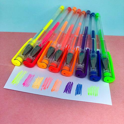 Kit Canetas gel Neon - 8un