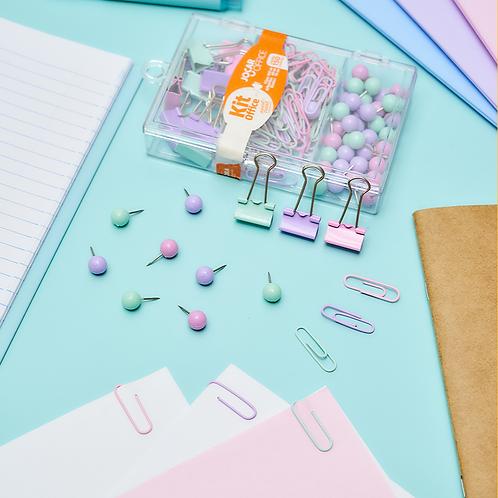 Kit Office Pastel - Binder, clips e prendedores