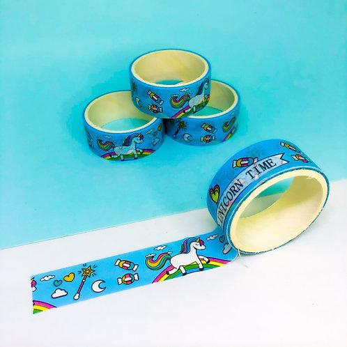 Washi Tape Unicórnio Azul