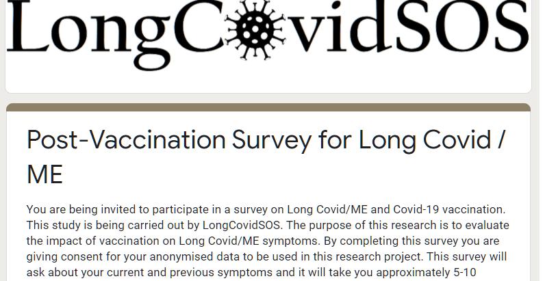 LongCovidSOS launch Vaccine survey
