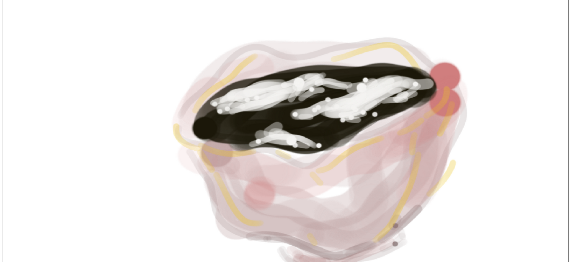 'Night sky with clouds' soup, in ceramic bowl  2019  Digital drawing