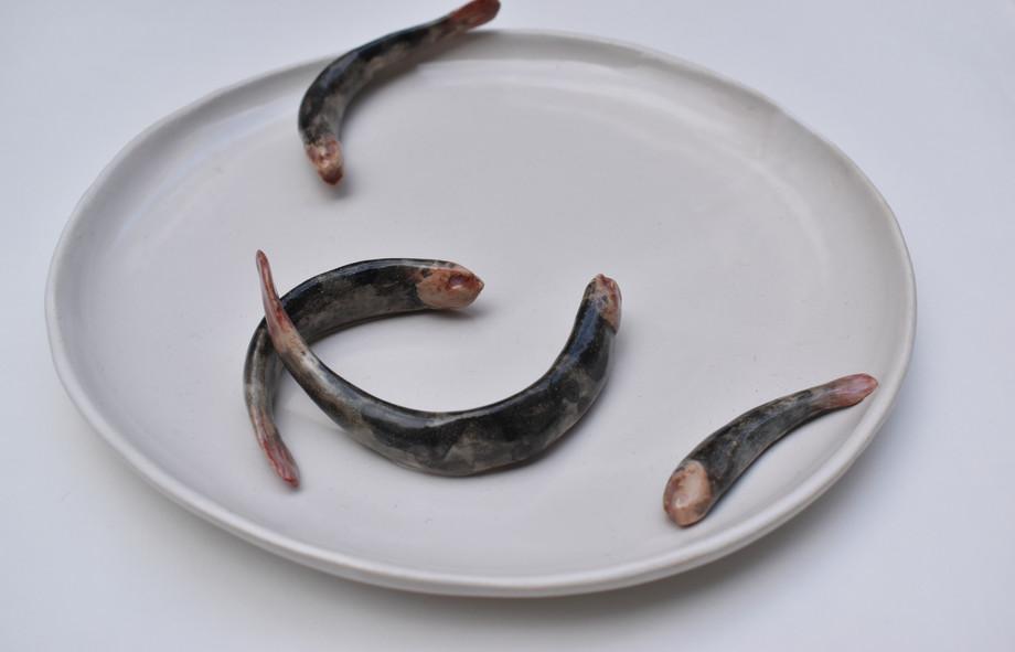 Plate III  2020  Stoneware clay, ceramic stains, ceramic glaze  22x22x4 cm