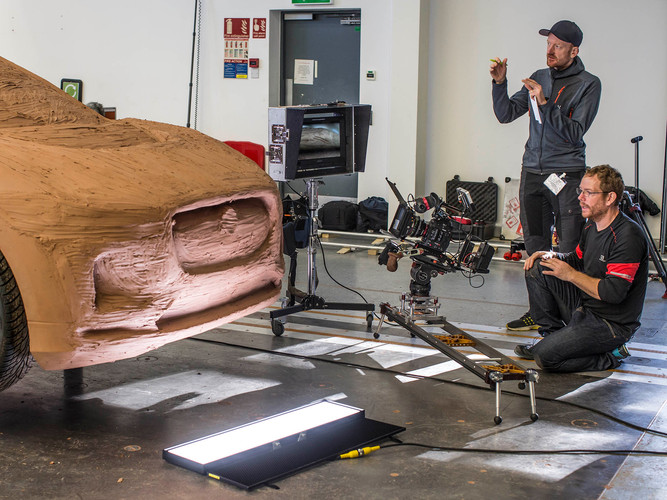 Filming the clay modelling scene
