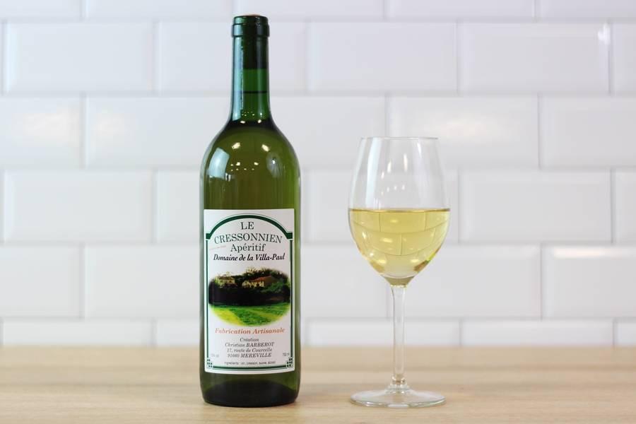 Vin blanc de cresson, du domaine de la Villa-Paul, à Méréville