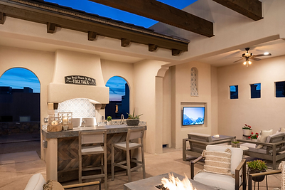 Award-Winning Outdoor Living in Las Cruces. Model / Office Custom Desigj-Build by Trinity Homes of Las Cruces