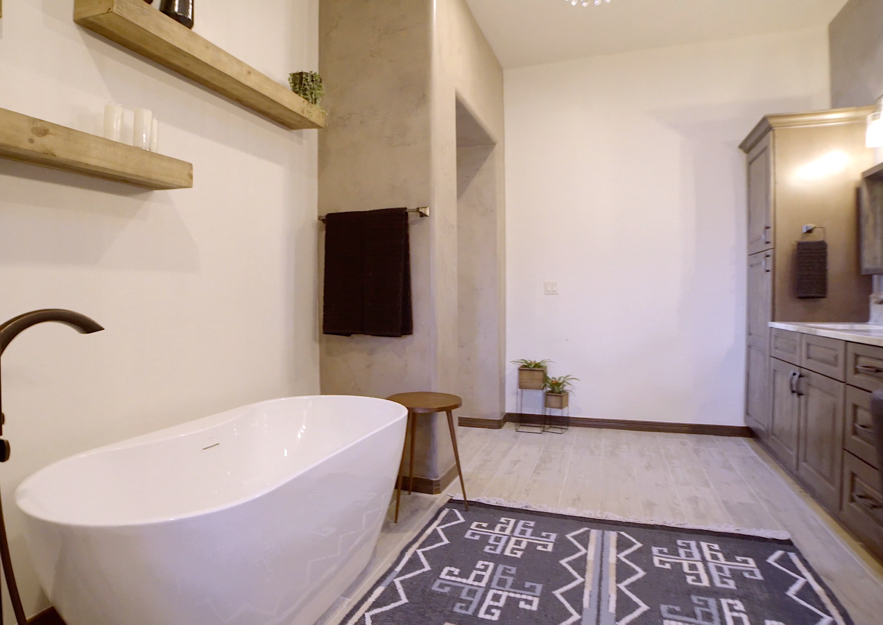 Award-Winning Master Bathroom finished in the New Modern Desert Style by Trinity Homes LC