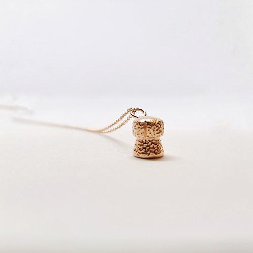 Rose Gold Champagne Cork Pendant necklace
