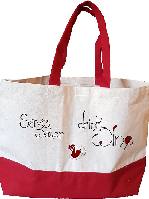 Save Water Drink Wine - Red - Large tote bag