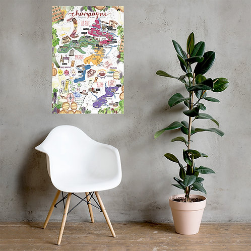Champagne Map Poster - Bold colours