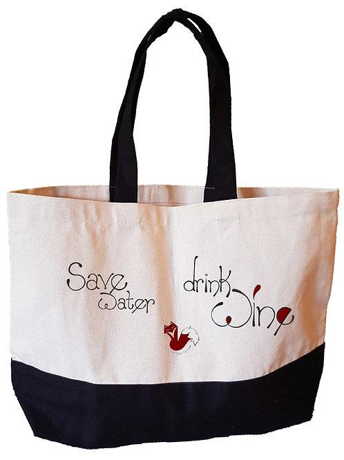 Save Water Drink Wine - Large tote bag