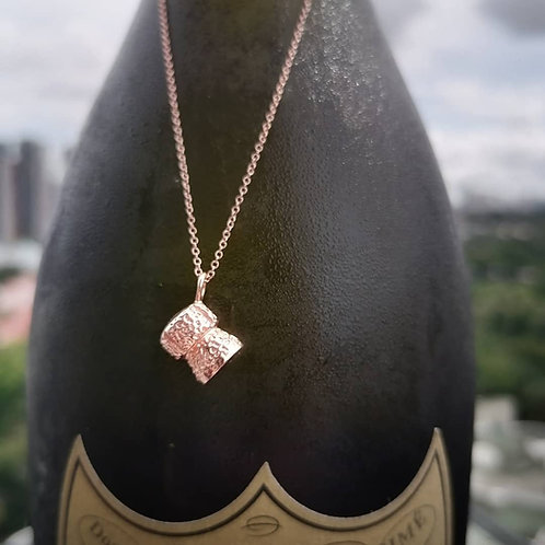 Rose Gold Champagne Cork Pendant necklace