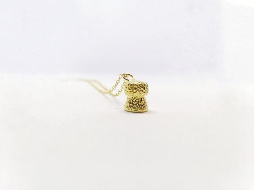Gold Champagne Cork Pendant Necklace
