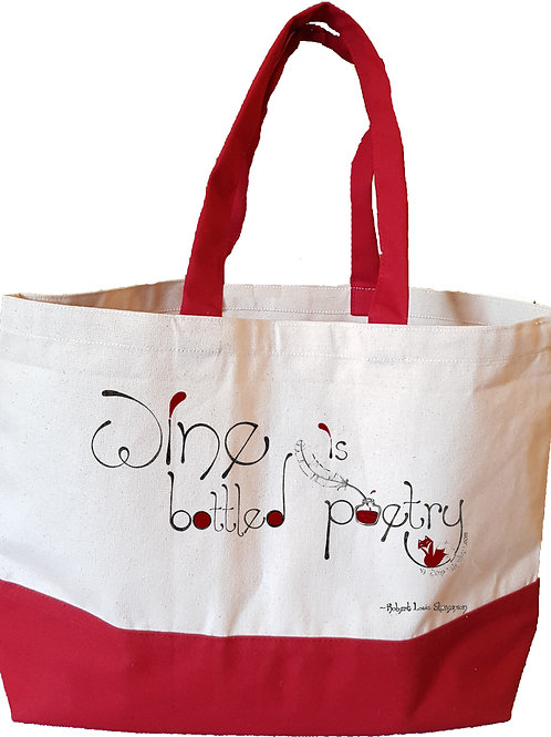 Wine is Bottled Poetry - Red - Large tote bag