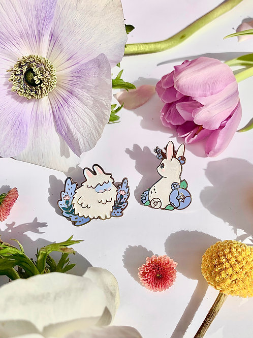 Bunny Bloom Enamel Pins