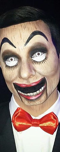 Slappy the Dummy Halloween makeup and face paint by Julie Hassett.
