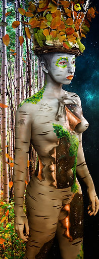Tree nymph body paint by Julie Hassett on model Tasheena Medina.