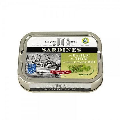 Sardines au basilic thym à l'huile d'olive BIO  - 115g