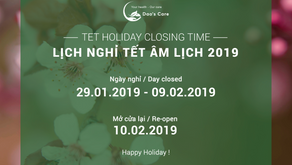 CLOSING TIME FOR TET HOLIDAY