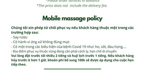 In-home massage menu