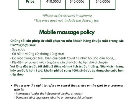 In-home massage menu