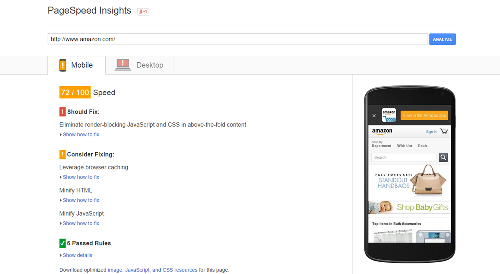PageSpeed Insights for Mobile