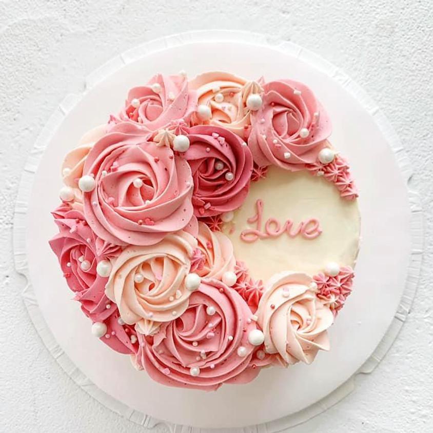 (C1)夢幻玫瑰粉色系漸變唧花蛋糕班