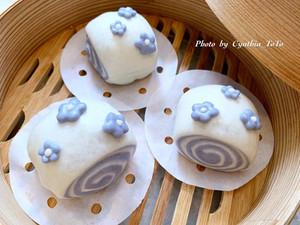 蝶豆花椰香雙色饅頭
