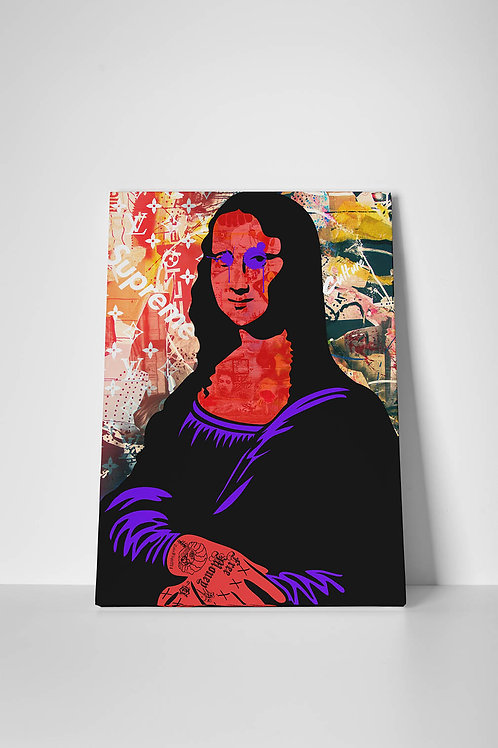 The Mona Graffiti Canvas Art, Hypebeast Canvas Print, Pop Culture Canvas Art