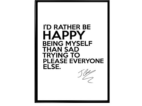 J Cole Happy Being Myself Poster, Music Poster Rap Slogan Poster