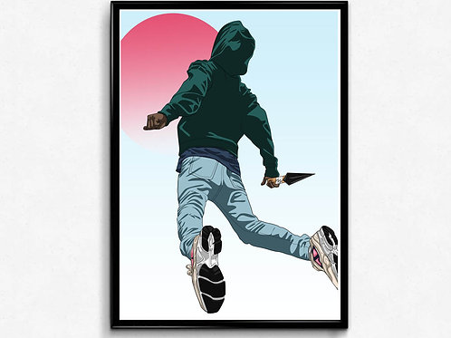 Flying Travis Scott Inspired Poster, Hypebeast Posters Prints Pop Culture Poster