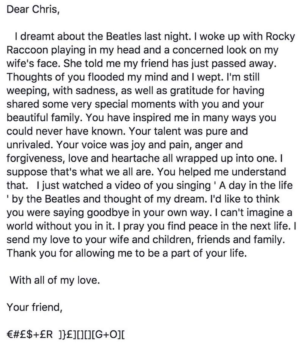 Chris Cornell dies at age 52 last letter to friend