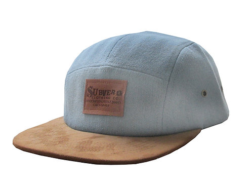Stone Wash Denim + Suede 5 Panel Camp Hat Cap