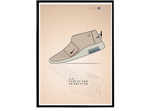Air Fear of God Peach Sneaker Poster, Hypebeast Poster, Modern Pop Art