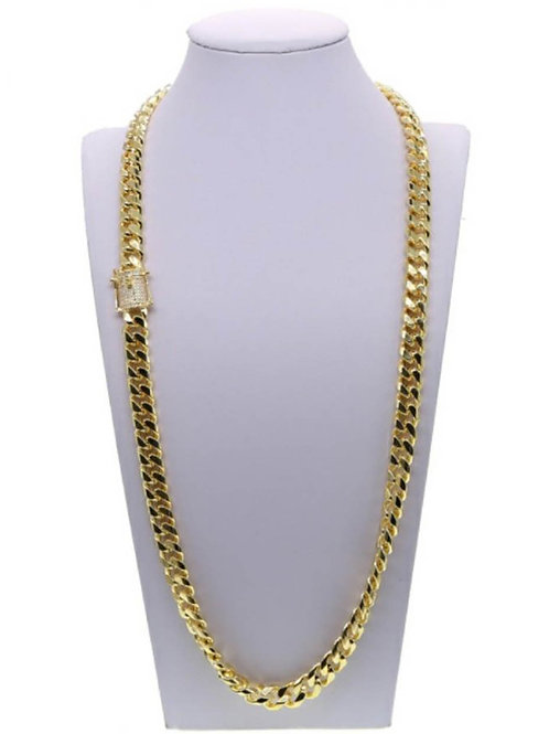 Curb Cuban Miami Link w/CZ Stone Clasp Chain Necklace 18K Yellow Gold Plated