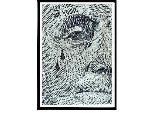 Tattooed Ben Franklin Poster, Hypebeast Poster, Streetwear Poster