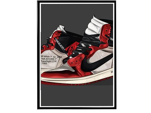 Off White x Jordan Sneaker Pop Art Poster, Hypebeast Poster Kicks Poster