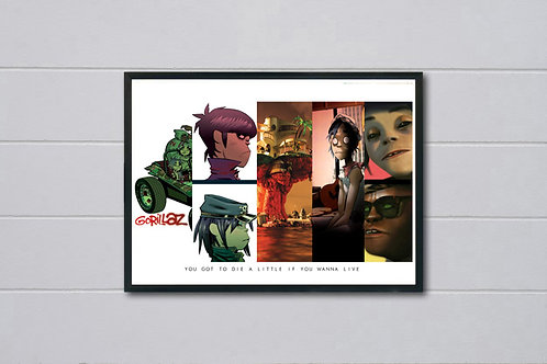Gorillaz Album History Poster, Hypebeast Posters Prints, Pop Song Quote Poster