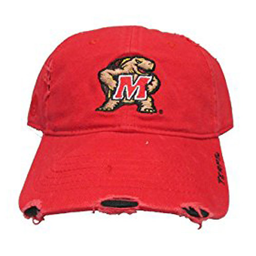 University of Maryland Terrapins Red Distress Strap Back Hat Adjustable Dad Ca