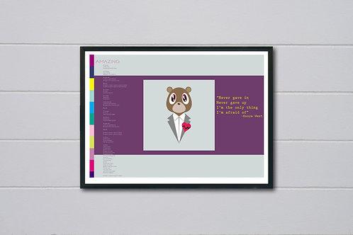 Kanye West Bear Art Poster, Amazing Song Lyrics Hypebeast Posters Prints